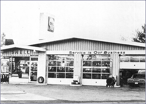 Shell service station. Pre-dates dad's real vision of service